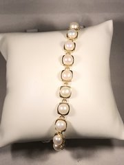 B166 14k Yellow Gold Pearl Bracelet