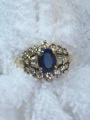 14 karat sapphire and diamond ring