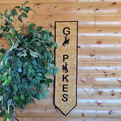 GO POKES with Steamboat Banner, Laser Cut, Officially Licensed State of Wyoming Bucking Horse and Rider Wall Hanging ki