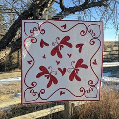 Hearts-a-Flutter Wall Hanging Kit, featuring laser cut pre fused applique pieces