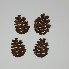 Pinecones, Set of 4 laser cut and pre fused applique embellishments