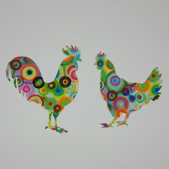 Funky Chickens, Laser Cut and Pre-fused Applique Embellishment