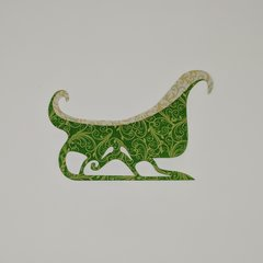 Christmas Sleigh Applique, Pre-Fused and Laser Cut, Red, Green or Blue