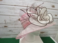 Pink and Brown Dress Hat