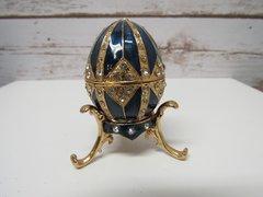 Faberge like Enamel Egg Box with Necklace