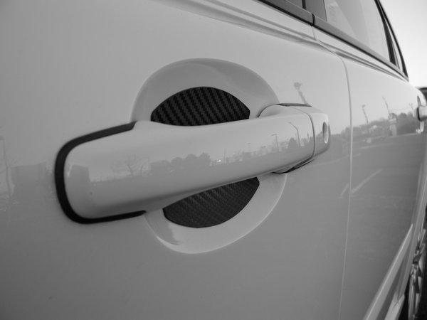 HONDA AUTO ACCESSORY BLACK CARBON FIBER CAR DOOR HANDLE SCRATCH COVER GUARD  PROTECTOR UNIVERSAL FIT 4 DOOR PACK