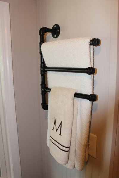 Black Iron Pipe Swivel Towel Rack 3 Tier Mini Mansions
