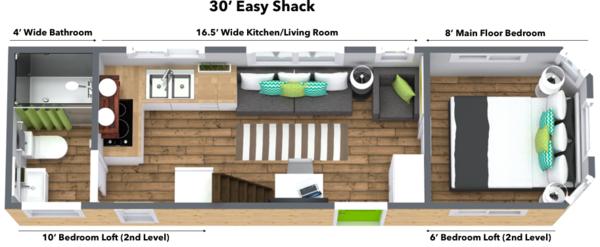 30 39 easy shack tiny house on wheels mini mansions tiny for Tiny house with main floor bedroom