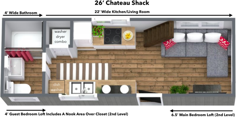 26' Chateau S Tiny Home on Wheels on tumbleweed house plans, new york loft floor plans, small loft house plans, micro house floor plans, house designs with floor plans, two bedroom loft floor plans, tiny home house plans,