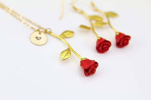 Red rose charm necklace red rose charm earrings personalized red rose gold necklace and earrings jewelry set mozeypictures Choice Image