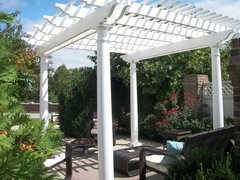 White Classic Free Standing Vinyl Pergola Kit 12' Wide x 10' Projection
