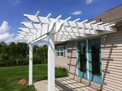 White Classic Attached Vinyl Pergola Kit 12' wide x 10' projection