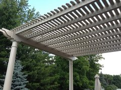 Almond Classic Attached Vinyl Pergola Kit 12' wide x 10' projection