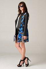Blue Multi Vegan Leather Coat