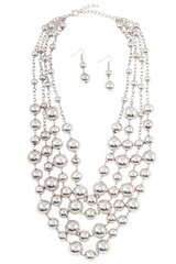 Silver Cluster Bead Necklace Set