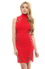 Red Grommet Sleeveless Mock Neck Mini