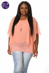 Plus Size Peach Flowy Top with Necklace