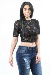 Black Lace Sheer Crop Top