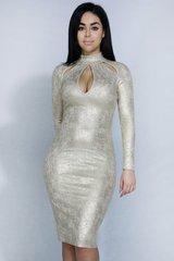 Ashe Gold Keyhole BodyCon Dress