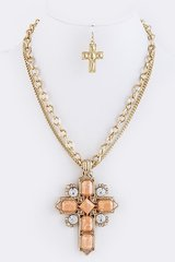Stone Cross Chain Necklace and Earrings Set