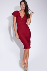 Crimson Flutter V-Plunge Midi Cocktail Dress