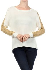 Solid Knit Sweater with Metallic Gold Knit Detail