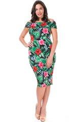 Black Floral Off-Shoulder Knee Length Dress