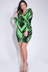 Curvy Geo Trace Faux Wrap Dress