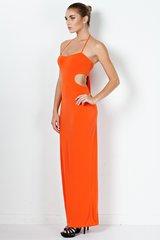 Pumpkin Cut-Out Halter Maxi Dress