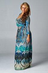 Teal Paisley Printed Maxi Faux Wrap Dress