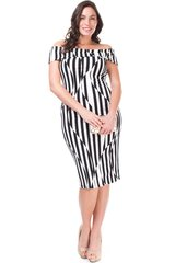 Black and White Off-Shoulder Strip Midi Dress