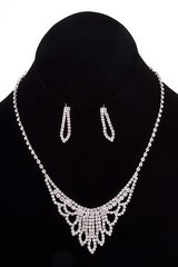Rhinestone Pave Fringe Necklace Set