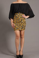 Black Drape Cheetah Skirt Dress