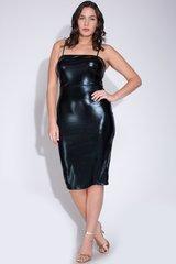 Curvy Black Liquid Patent Leather Tank Dress