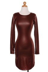 Red Faux Leather T-Shirt Dress