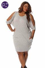 Grey Casual Open-Sleeve Dress