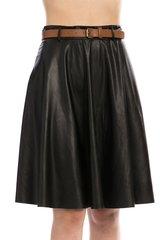 Black Belted Faux Leather Skater Skirt