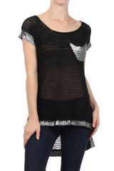 Solid Knitted Hi-Low Silver Trimmed Sweater