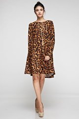 Leopard A-Line Swing Dress