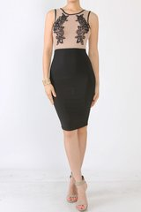 Nude and Black Lace Embroidered Sleeveless Ashley BodyCon Dress