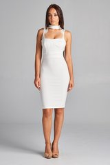 White Mock Neck Sleeveless BodyCon Midi