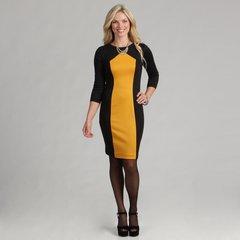 Black and Yellow Gold 3/4 Sleeve Sheath Dress