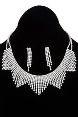 Silver Pave Fringe Necklace Set