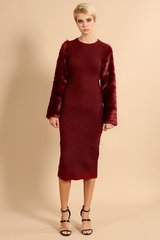 Oxblood Key-Hole Back Fur Sleeve Midi