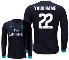 Real Madrid Men Jersey Away 2017-2018 Long Sleeve CUSTOM