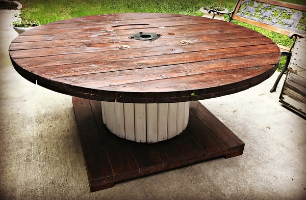 SOLD - 6' Large Spool Table.