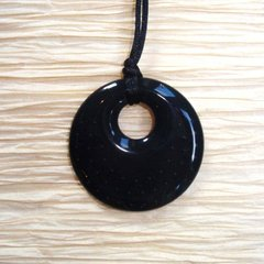 Chewable Pendant Necklace - Black Swirl