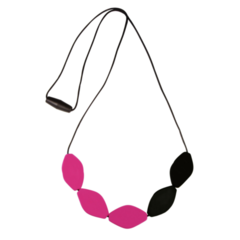 Large Tulip Bead Necklace - Black/Pink