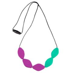 Large Tulip Bead Necklace - Purple/Green