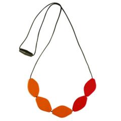 Large Tulip Bead Necklace - Red/Orange